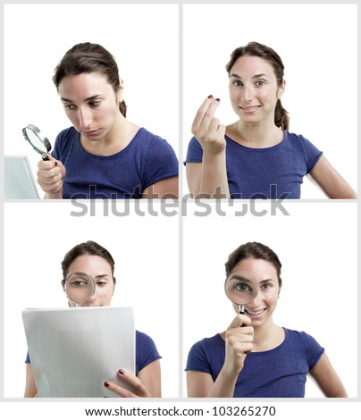 Set of four portraits of a young beautiful woman wearing a blue top. She is doing different poses with a magnifying glass. - stock photo