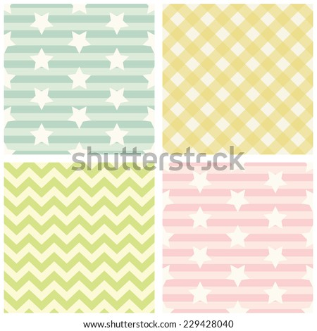 Set of four primitive retro patterns with stars, gingham and chevron ideal for baby shower