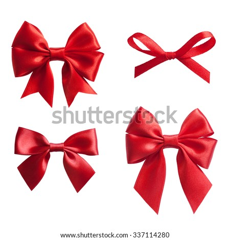 set of four red ribbon satin bows isolated on white - stock photo