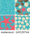 set of four seamless sea backgrounds - stock
