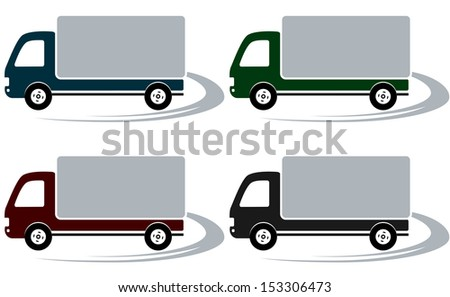 set of four shipping trucks on the road with decorative element