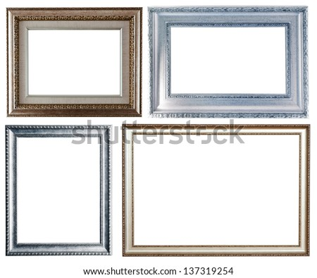Set of four silver frames. Isolated over white background with clipping path - stock photo