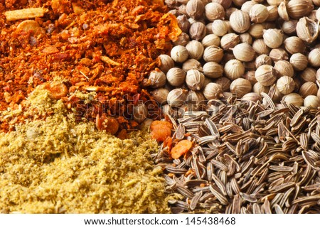 set of four species of colorful spices Caucasian
