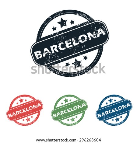 Set of four stamps with name Barcelona and stars, isolated on white - stock photo