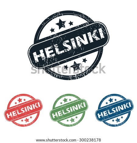 Set of four stamps with name Helsinki and stars, isolated on white - stock photo