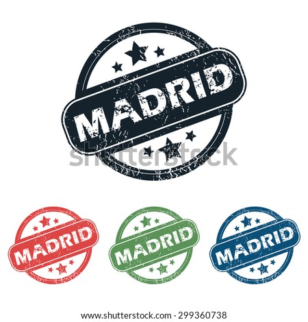 Set of four stamps with name Madrid and stars, isolated on white - stock photo