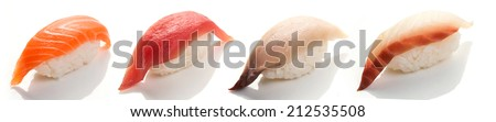 Set of four sushi with salmon, tuna, yellowtail and sea bass on a white background close up isolated - stock photo