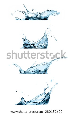 Set of four water splashes isolated on white background