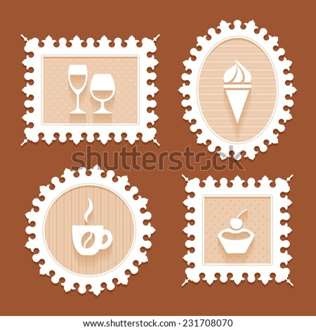 Set of four white vintage ornate frames of different shapes with carved edge and flat icons of desserts and drinks of cafeteria in beige pastel colors on a brown background - stock photo