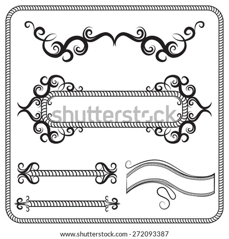 set of frames, decorated with swirls. The illustration on white