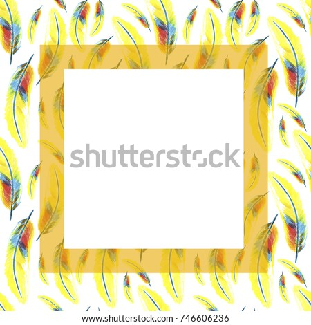 Set Frames Watercolor Feather Wing Bird Stock Illustration 746606236 ...