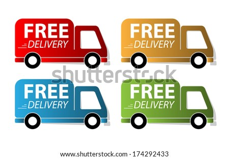 Set of free delivery label.