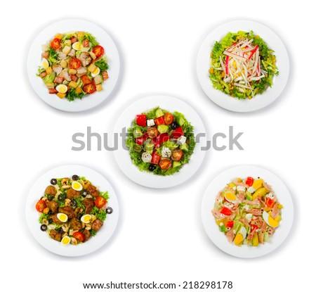 Set of fresh and salads isolated on white background - stock photo