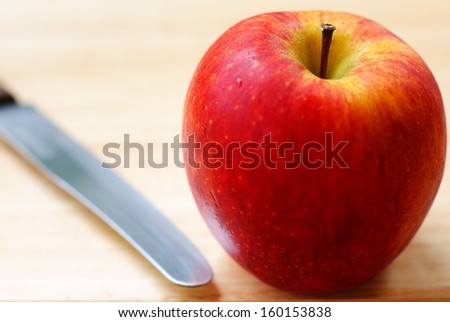 Set of fresh apples on wooden background - stock photo
