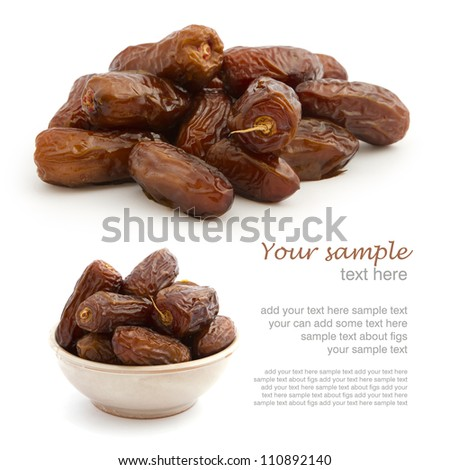 Set of fresh dried dates on white background with easy removed sample text - stock photo