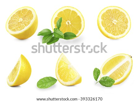 Set of  fresh lemons with leaves, isolated on white - stock photo