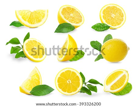 Set of  fresh lemons with leaves, isolated on white