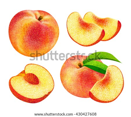 Set of fresh ripe peach fruits with leaves. Different styles of peach fruits on white background. - stock photo