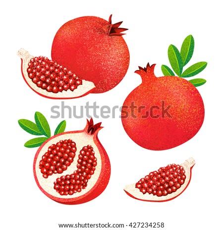 Set of fresh ripe pomegranate, leaves isolated on white background.  - stock photo