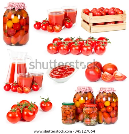 Set of fresh tomatoes, canned tomatoes, ketchup, tomato juice and fresh tomatoes tomatoes in wooden box