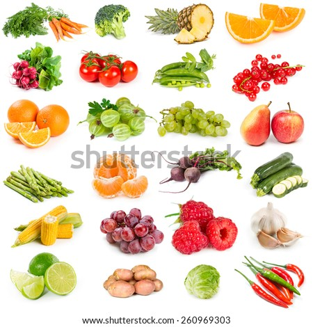 Set of fresh vegetables. fruits and berries isolated on white background