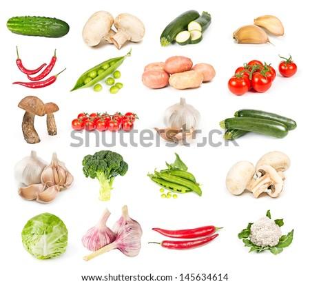 Set of fresh vegetables isolated on white background - stock photo