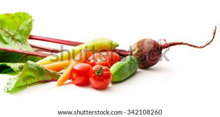 Set of fresh vegetables on white background - stock photo