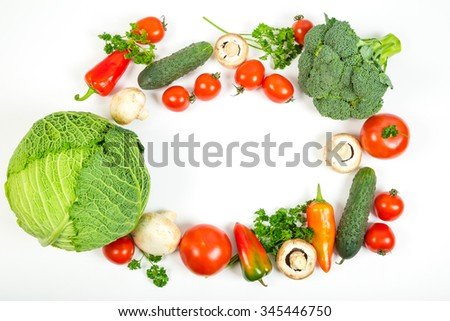 Set of fresh vegetables on white background, space for text - stock photo