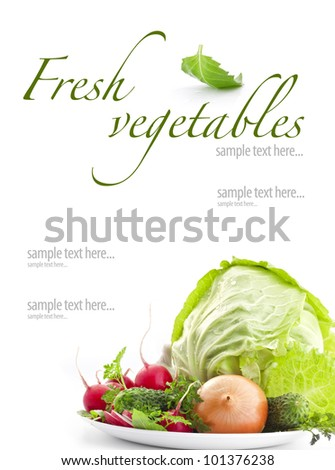 Set of fresh vegetables with green leaf isolated on white background (with sample text)