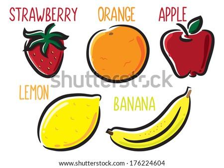set of fruit icon - stock photo