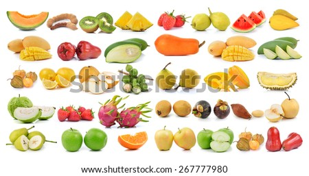 set of fruit on a white background