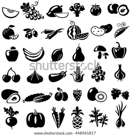 Set of fruits and vegetables icons. Tomato, peach, onion, pepper, grapes, mango, broccoli, orange, olives, watermelon, banana, apple, lemon, cherry, cucumber, plum, strawberry, garlic, carrots