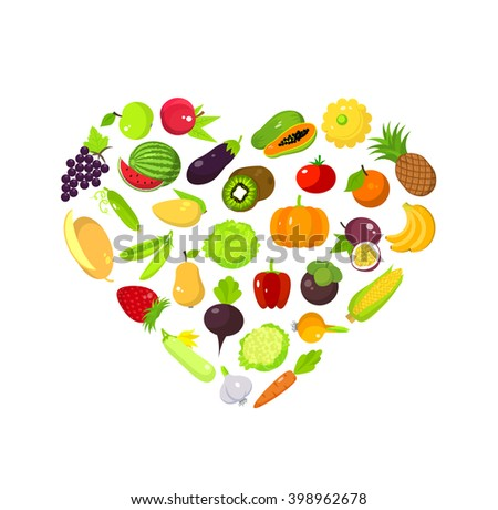 Set of fruits and vegetables in a heart form, vegan love, fresh nature organic food  - stock photo