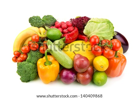 set of fruits and vegetables isolated on a white background