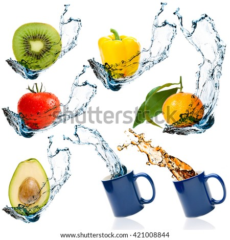 Set of fruits and vegetables with water splash isolated on white background - stock photo
