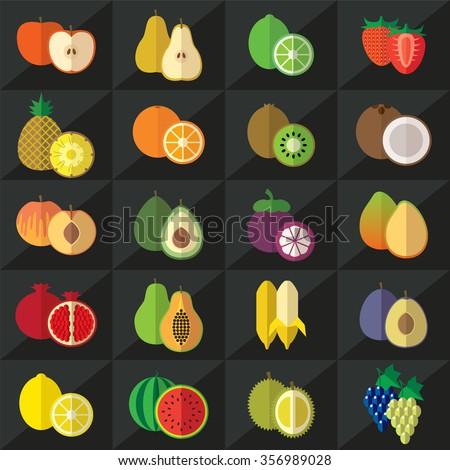 Set of fruits flat icons illustration - stock photo