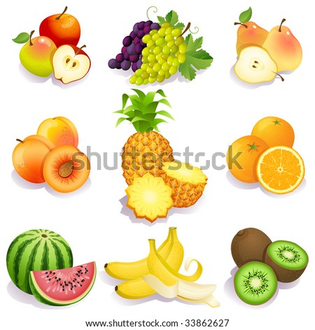 set of fruits icons - raster version - stock photo