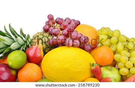 set of fruits isolated on white background - stock photo