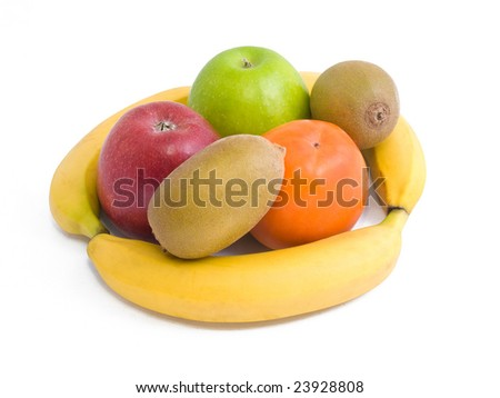Set of fruits on white.