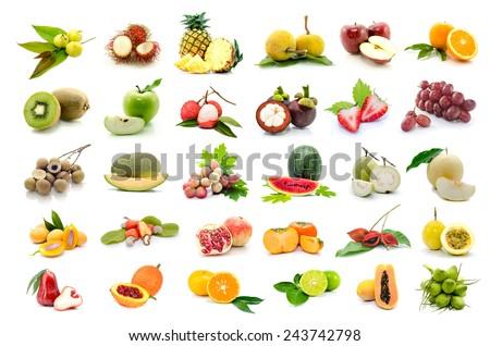 set of fruits on white background. - stock photo