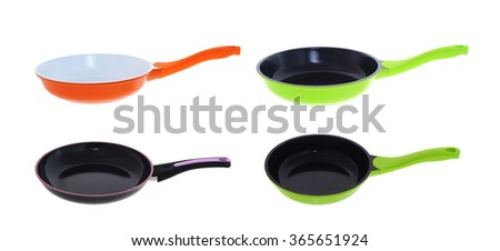 set of frying pans  - stock photo