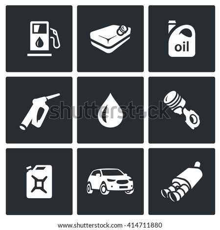 Set of Fuel Icons. Petrol station, gasoline tank, Machine oil, filling pistol, piston engine, canister, car, exhaust pipe. Refuelling car, equipment and capacity. Isolated symbols on black background - stock photo