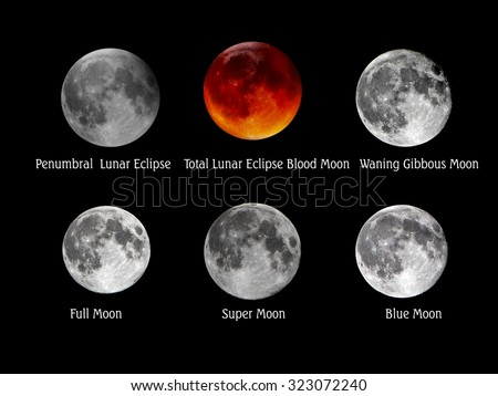 Set of full moon, blood moon, blue moon, super moon,  - stock photo