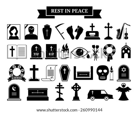 Set of funeral icons. Black silhouette and portrait tombstone, urn and ashes, wreath and hearse - stock photo