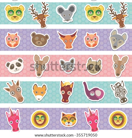 Set of funny animals muzzle seamless pattern with pink lilac blue stripes.