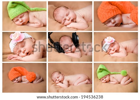 set of funny babies or children weared in hats .collage background - stock photo