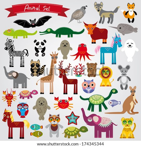 Set of funny cartoon animals character on a white background. zoo.