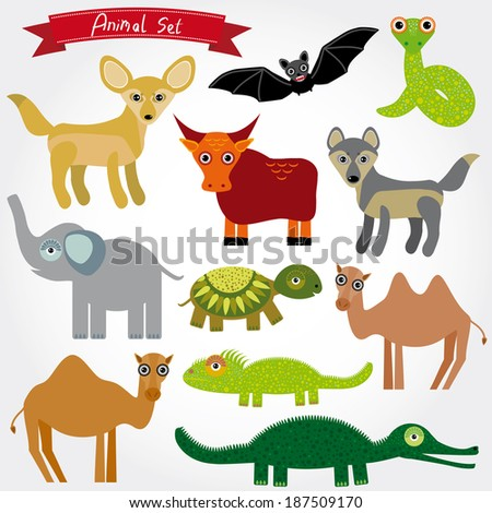 Set of funny cartoon animals character on  white background. zoo.  - stock photo