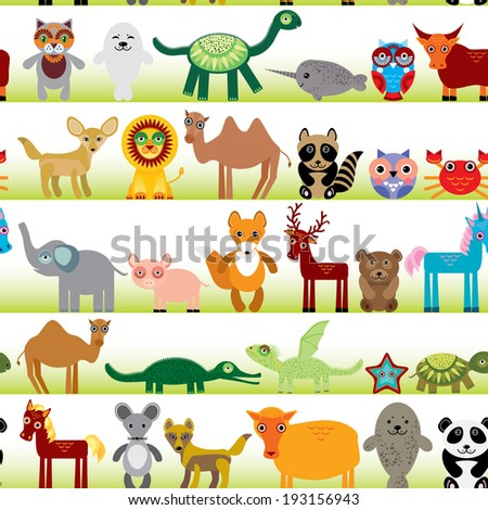 Set of funny cartoon animals character on  white seamless background. zoo.