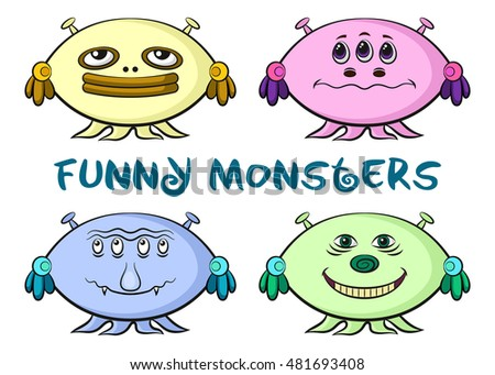 Set of Funny Colorful Cartoon Characters, Different Monsters, Elements for your Design, Prints and Banners, Isolated on White Background.
